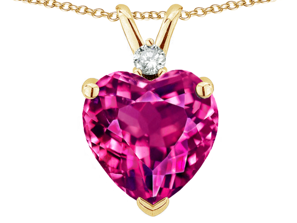 Star K 8mm Simulated Pink Tourmaline Heart Pendant Necklace in 14 kt Yellow Gold by