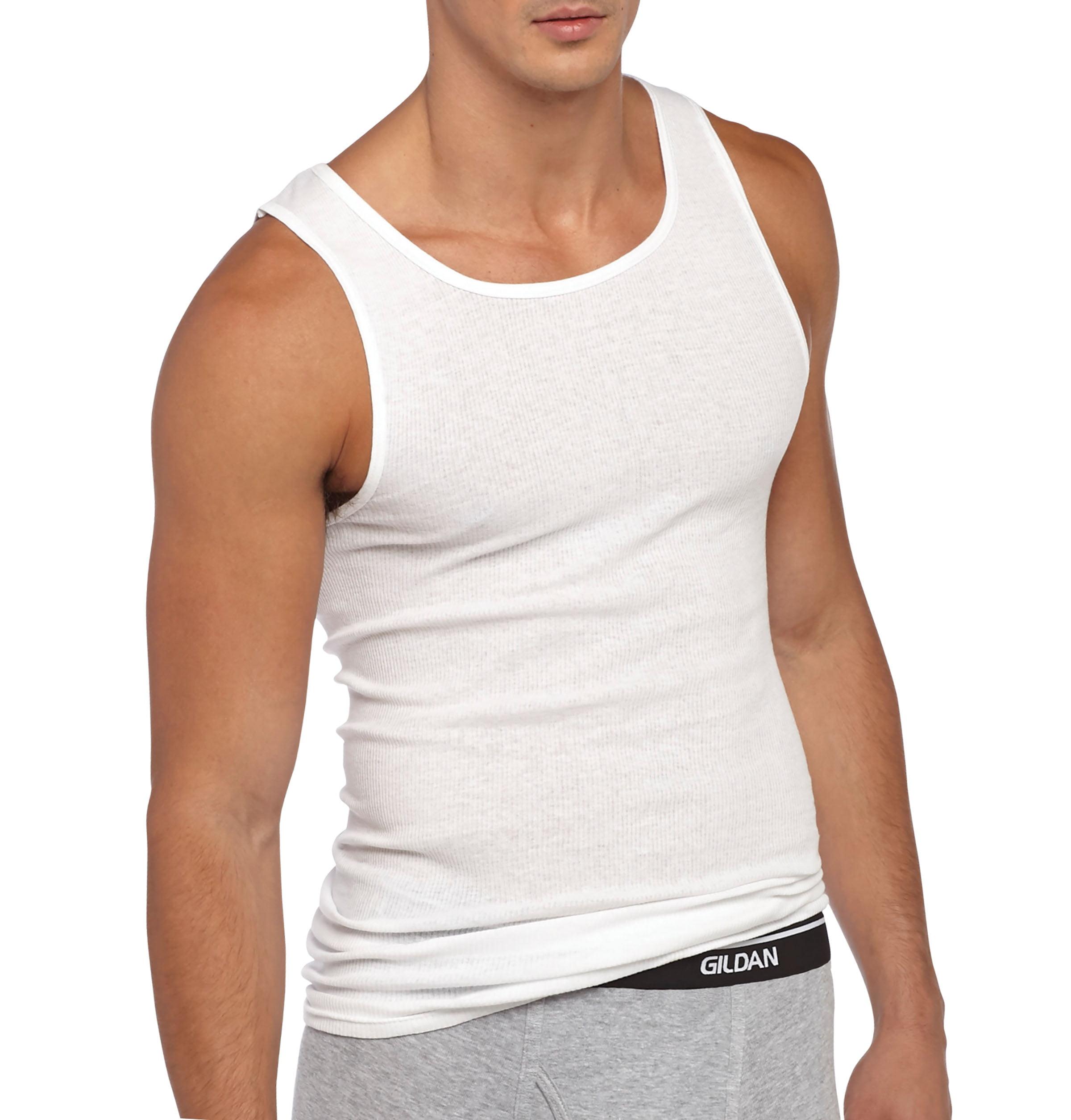 Gildan Big Men's Cotton Ribbed White A-Shirt, 4-Pack +1 Bonus