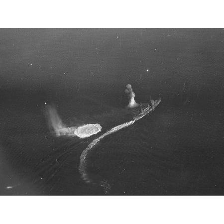 LAMINATED POSTER The Japanese light cruiser Katori underway in Truk Lagoon, as seen from U.S. Navy Grumman TBF Avenge Poster Print 24 x