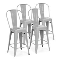 Best Choice Products 24in Set of 4 High Backrest Industrial Metal Counter Height Stools, Silver