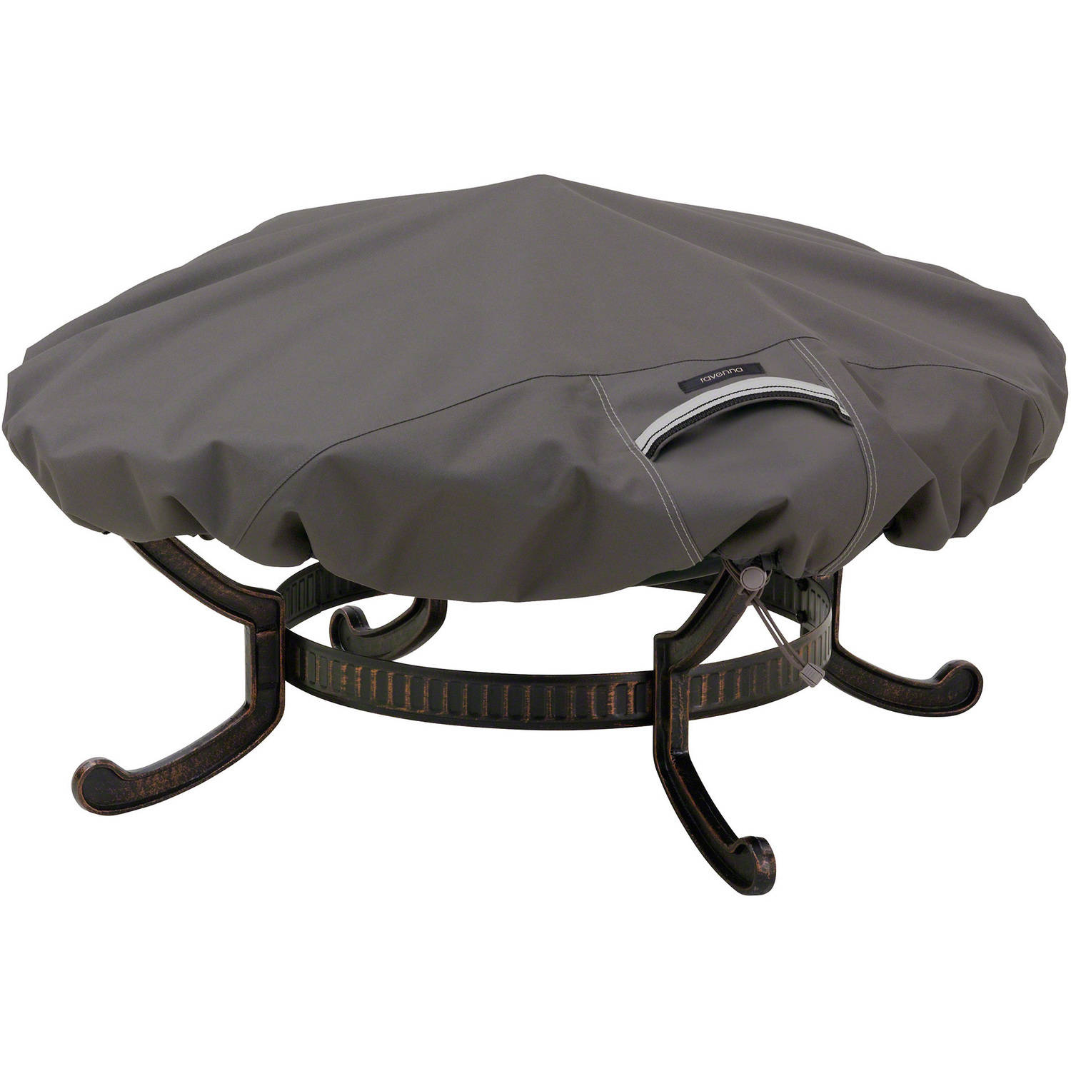 "Classic Accessories Ravenna Large Round Fire Pit Patio Storage Cover, Fits up to 60"" Diameter, Taupe"