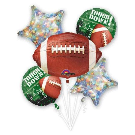 - Football Frenzy Party Balloons Bouquet 5 Foil Balloon Pack Super Bowl Supplies