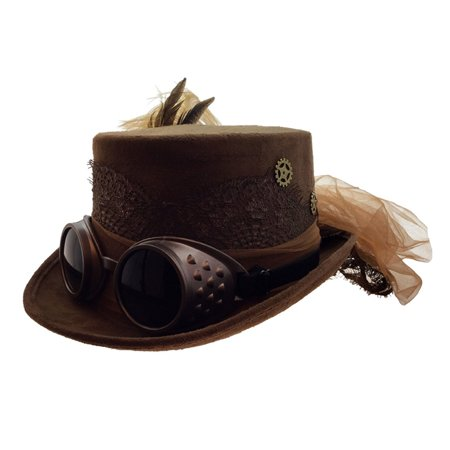 Attitude Studio Steampunk Costume Fedora Hat with Goggles Feather Gears - (Steampunk Studio)