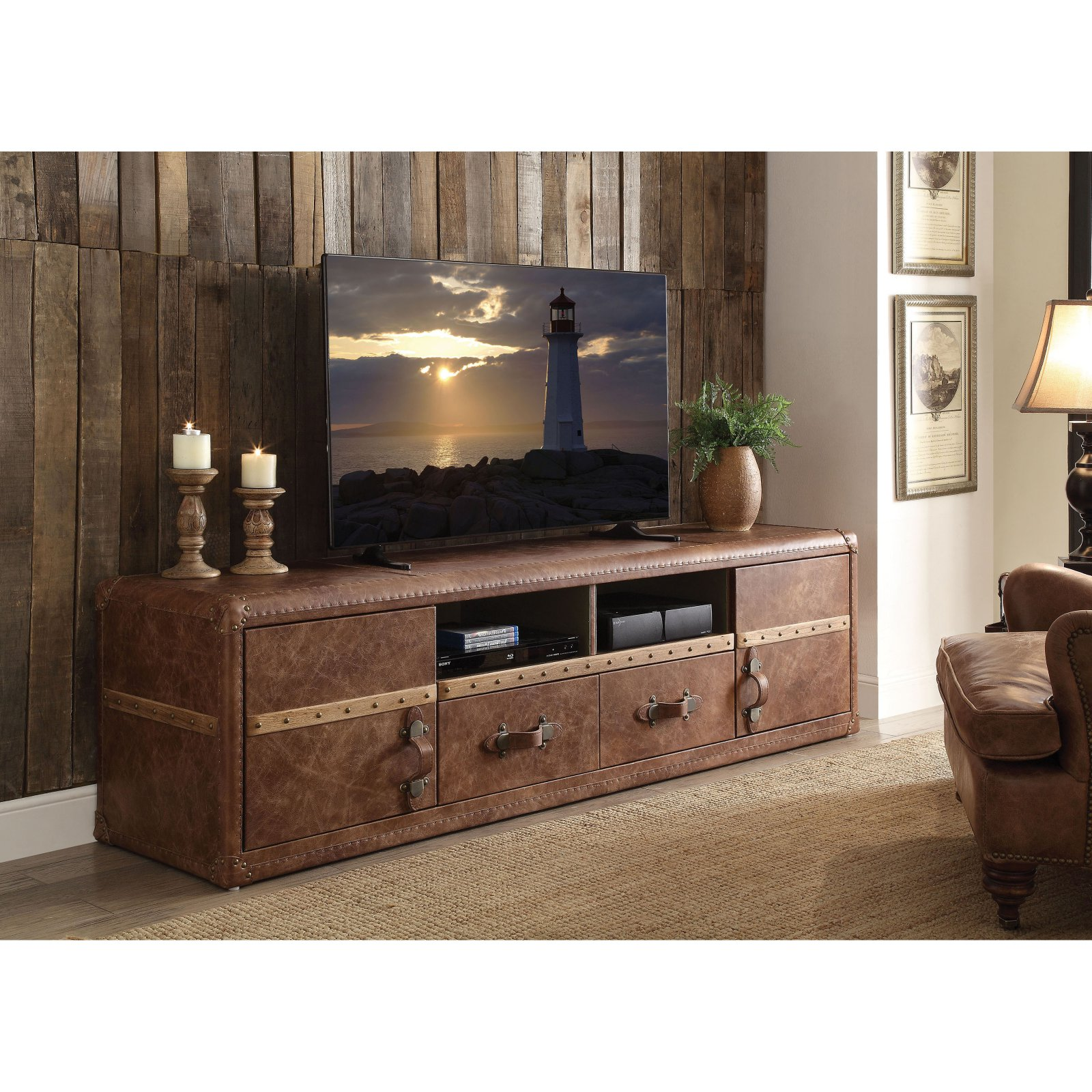 "Acme Aberdeen TV Stand for TVs up to 70"", Vintage Dark Brown Top Grain Leather"