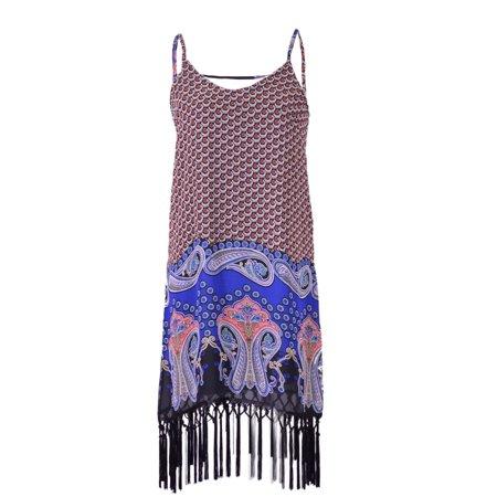 Lush Contempo Chic Abstract Print Fringe Bottom Chiffon Sheath Dress