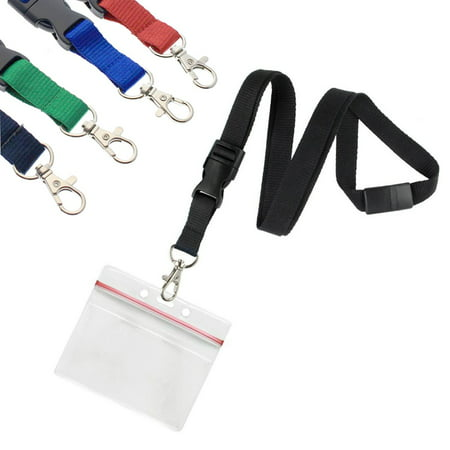 5 Pack - Premium Lanyards with Detachable Horizontal Re-Sealable ID Badge Holder by Specialist ID (Assorted Colors) ()