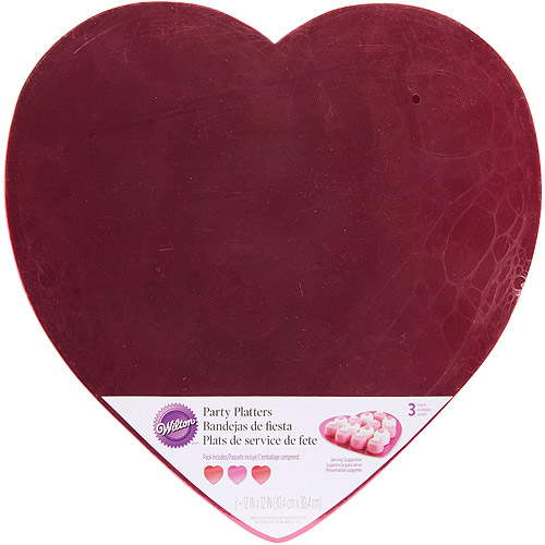 """Wilton 12"""" Party Platters, Red & Pink Hearts 3 ct. 2104-5143"""