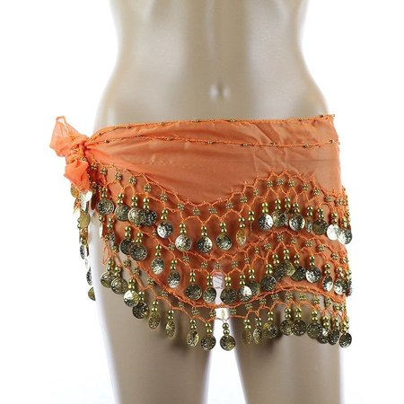 Chiffon Dangling Belly Dance Hip Scarf - Orange with Gold Coins, Length - 66 inches By AK TRADING - Dance Scarves