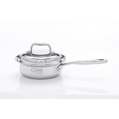 360 Cookware Stainless Steel Saucepan with Cover, 1 Quart by 360 Cookware