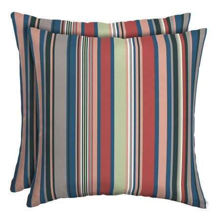 Better Homes & Gardens Breezy Stripe 16 in. Square Outdoor Toss Pillow - Set of 2 Accessories Square Toss Pillow