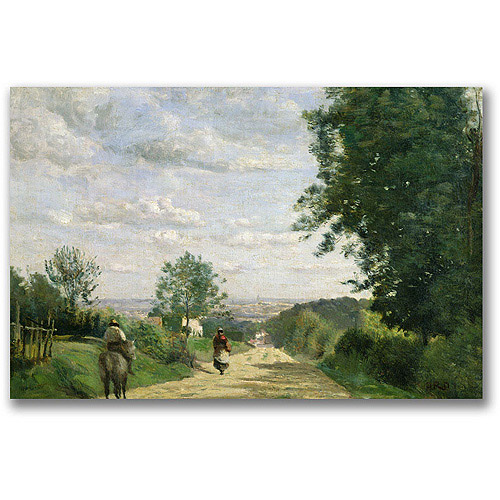 "Trademark Fine Art ""The Road To Sevres"" Canvas Wall Art by Jean Baptiste Corot"