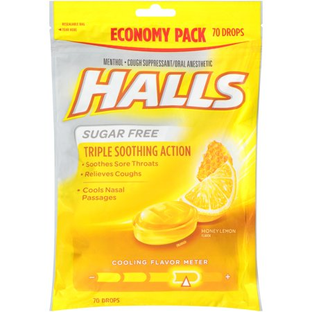 Halls Sugar Free Honey Lemon Cough Suppressant/Oral Anesthetic Menthol Drops 70 ct (Best Non Menthol Cough Drops)
