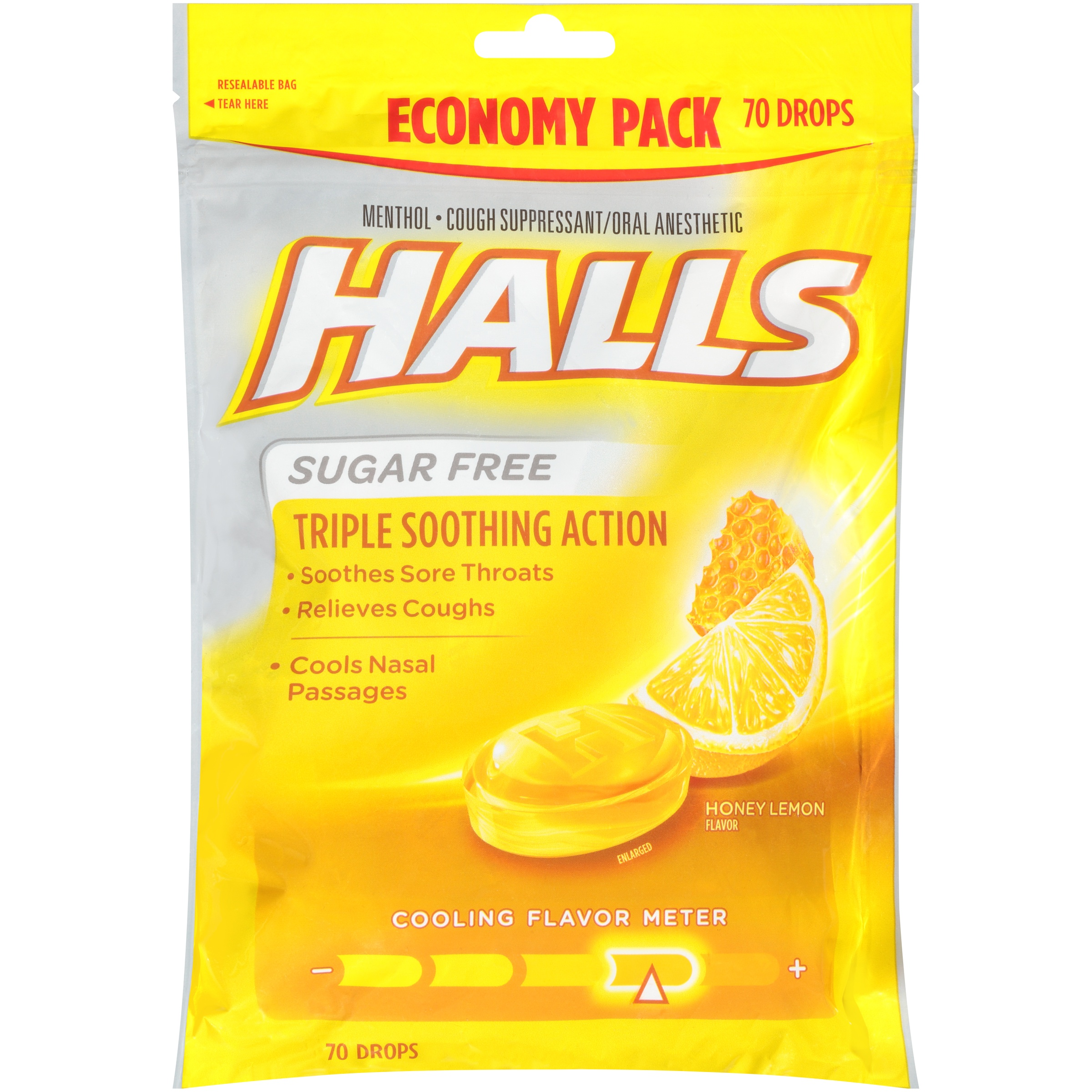 Halls Sugar Free Honey Lemon Cough Suppressant/Oral Anesthetic Menthol Drops 70 ct Bag