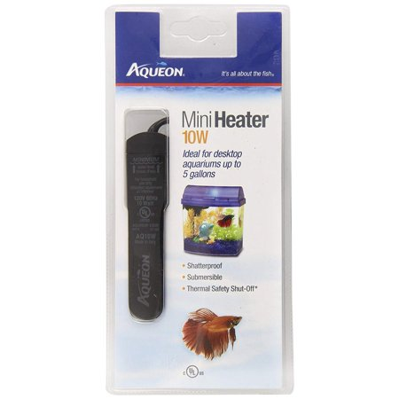 Fish Tank Mini Heater, 10-watt, Plastic, Perfect size heater for Aqeuon Mini Bows and other small aquariums By Aqueon