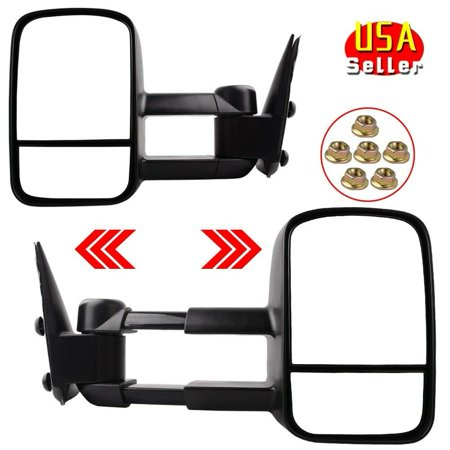 Trailer Towing Mirrors Side Mirror Manual Pair for 99-06 Chevy Silverado Sierra 1500 2500 3500 & 2007 Classic
