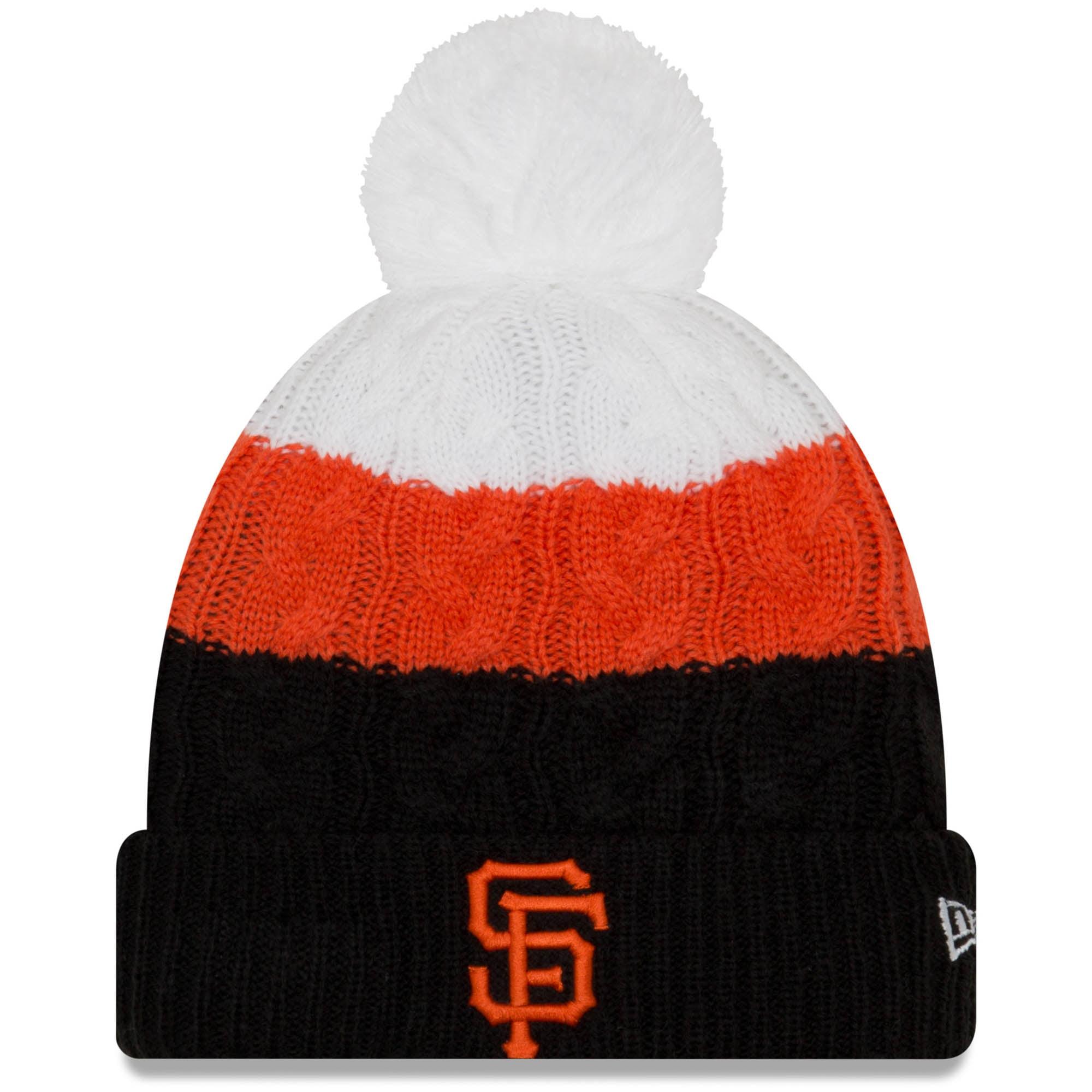San Francisco Giants New Era Women's Layered Up 2 Cuffed Knit Hat with Pom Black OSFA by NEW ERA CAP COMPANY