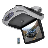PYLE PLRD145 - 13.3'' Roof Mount TFT LCD Monitor Built In DVD/USB/SD Player w/ Wireless FM/IR Transmitter's & Included 3 Color Skins (Gry/Blk/Tan)