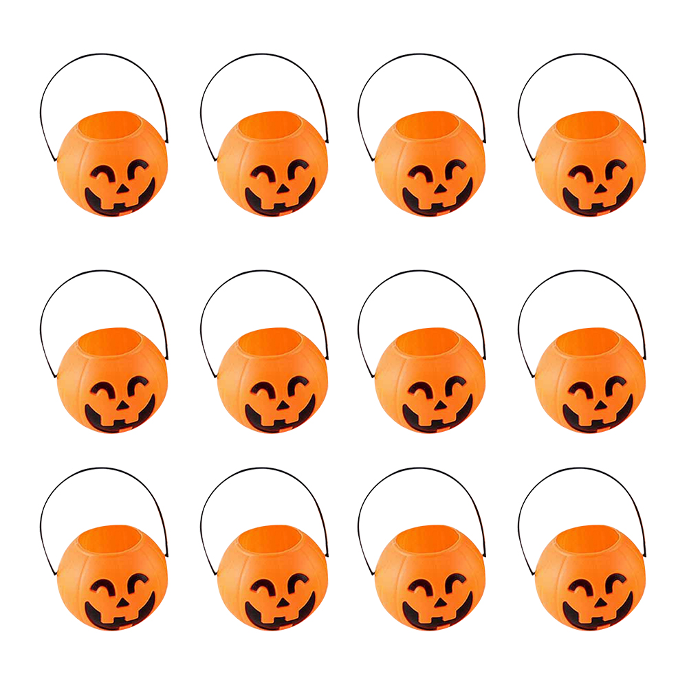 12 Pcs Halloween Portable Pumpkin Bucket Children Trick or Treat Pumpkin Candy Pail Holder (Smiling Eyes)