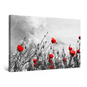 "Startonight Canvas Wall Art Abstract - Black and White with Red Poppies - Framed 24"" x 36"""