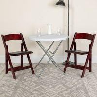 Flash Furniture 2 Pk. HERCULES Series Mahogany Wood Folding Chair with Vinyl Padded Seat