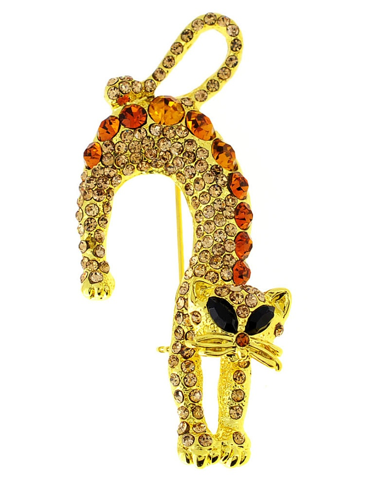 Golden Topaz Brown Crystal Cat Pin Brooch by