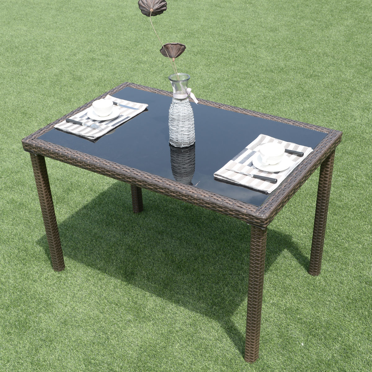 Costway 43u0027u0027 Glass Table Patio Outdoor Wicker Rectangular Dining Table  Garden Furniture