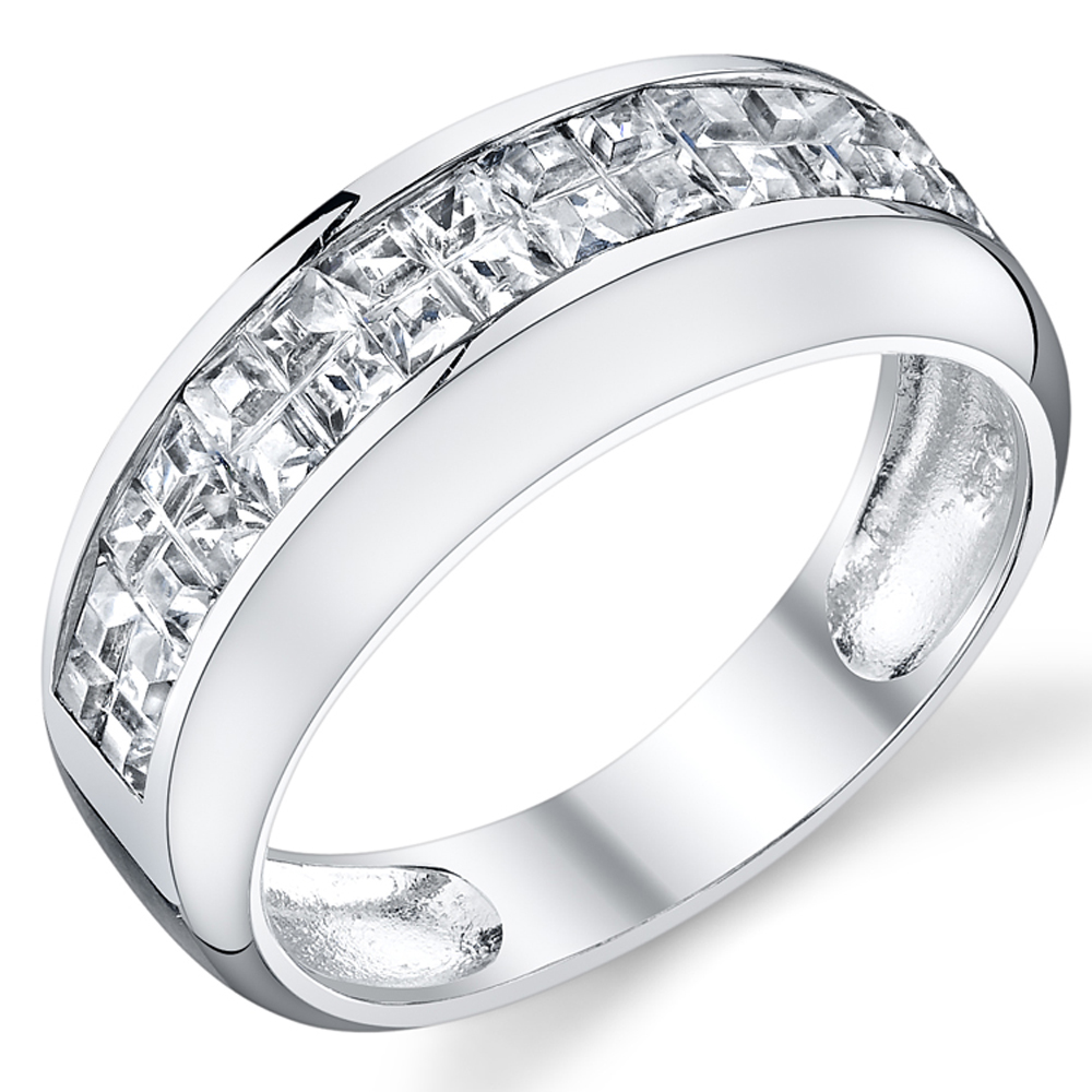 Sterling Silver Wedding Band Invisible Set Princess Cut Cubic Zirconia CZ Unisex Men's Ring 8 MM