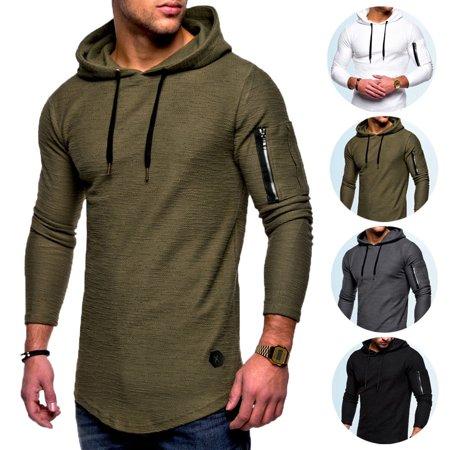 SUNSIOM Men's Long Sleeve Hoodie Muscle Sweatshirt Cool Hoody Tops GYM Sport Hoodies