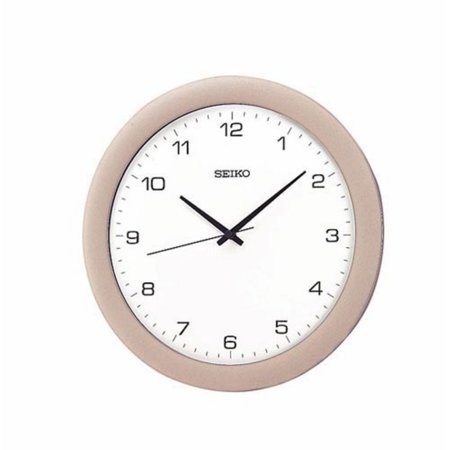 Seiko Silver; White Wall Clock
