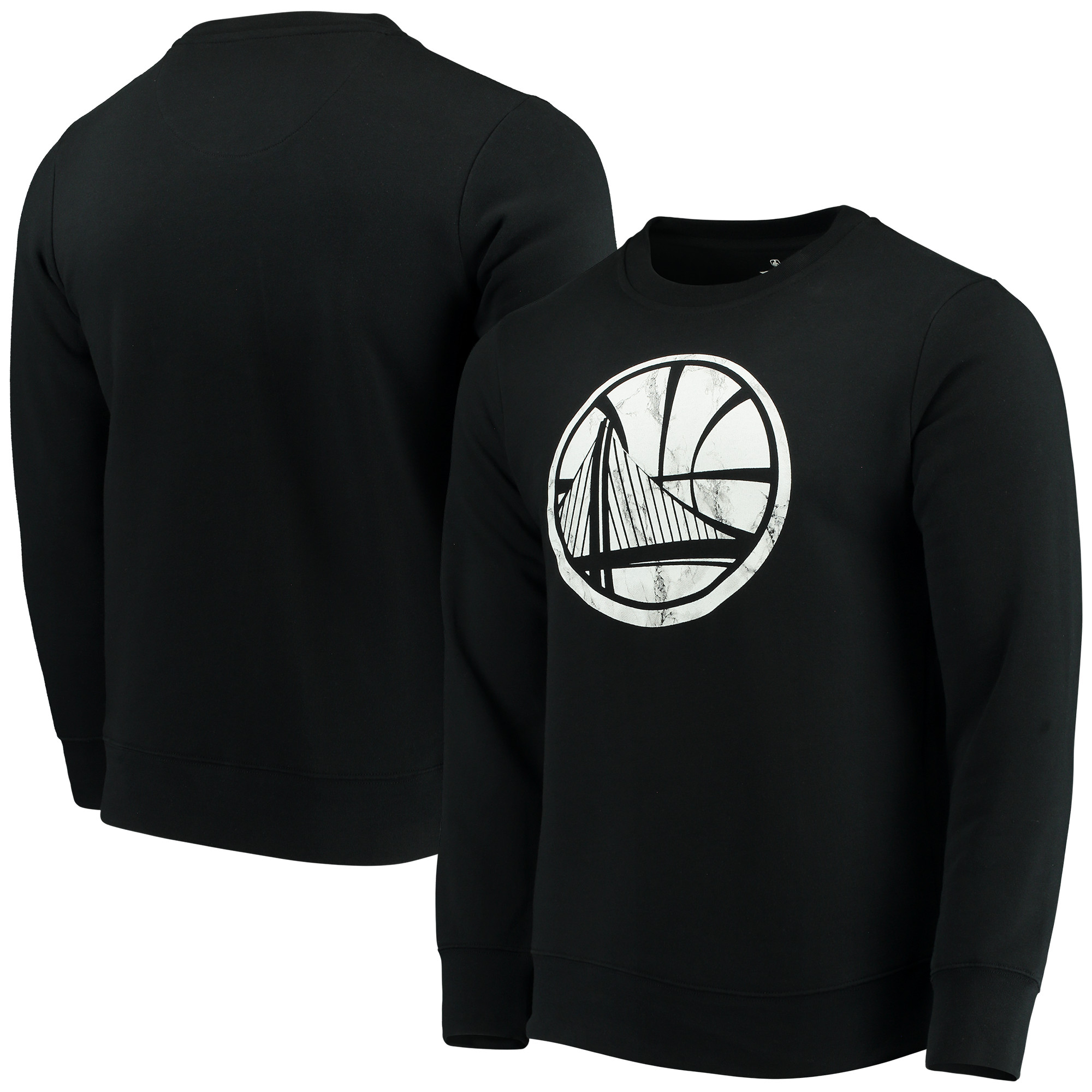 Golden State Warriors Fanatics Branded Long Sleeve Marble Crew Fleece Sweatshirt - Black