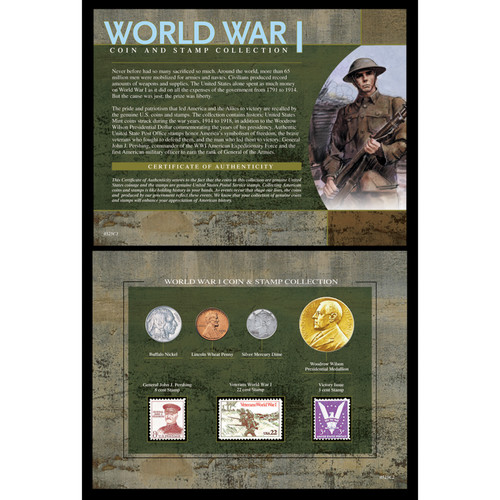 American Coin Treasures World War I Coin and Stamp Framed Memorabilia