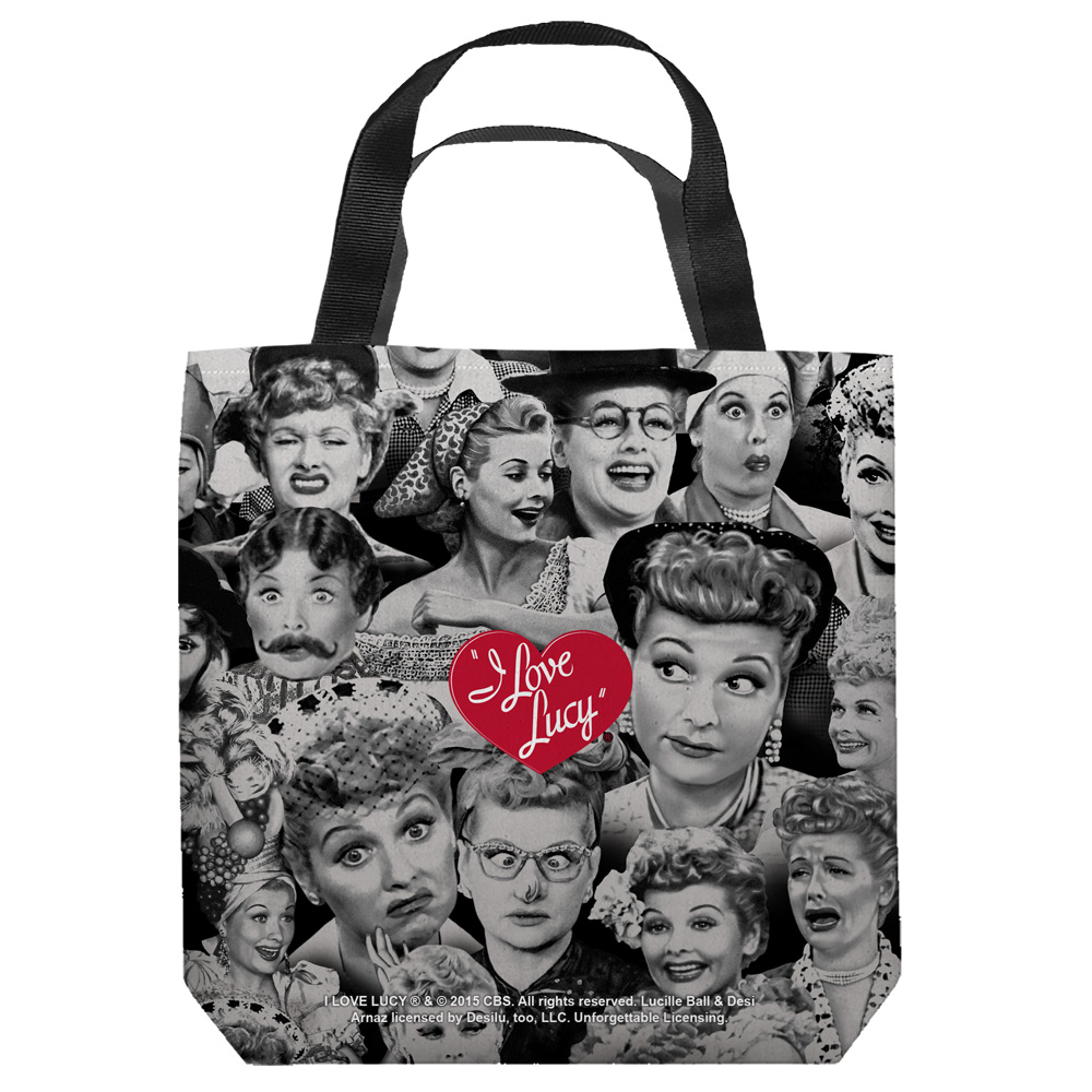 I Love Lucy Faces Tote Bag White 13X13