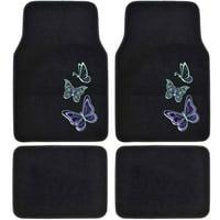 BDK Lady Butterflies Design Carpet Floor Mats for Car SUV, 4 Piece Set
