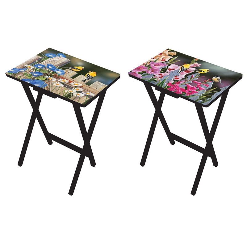 Set Of 2, Birds And Flowers Foldable Side Table/ TV Tray