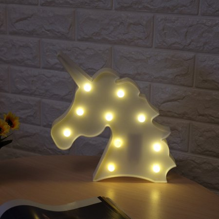 Peace Sign Night Light (LED Unicorn Night Light Decorative 3D Marquee Sign Light for Bedroom Kids Room Color:White Specification:White beast)