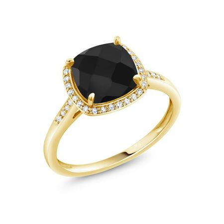 2.11 Ct Cushion Checkerboard Black Onyx 10K Yellow Gold Ring