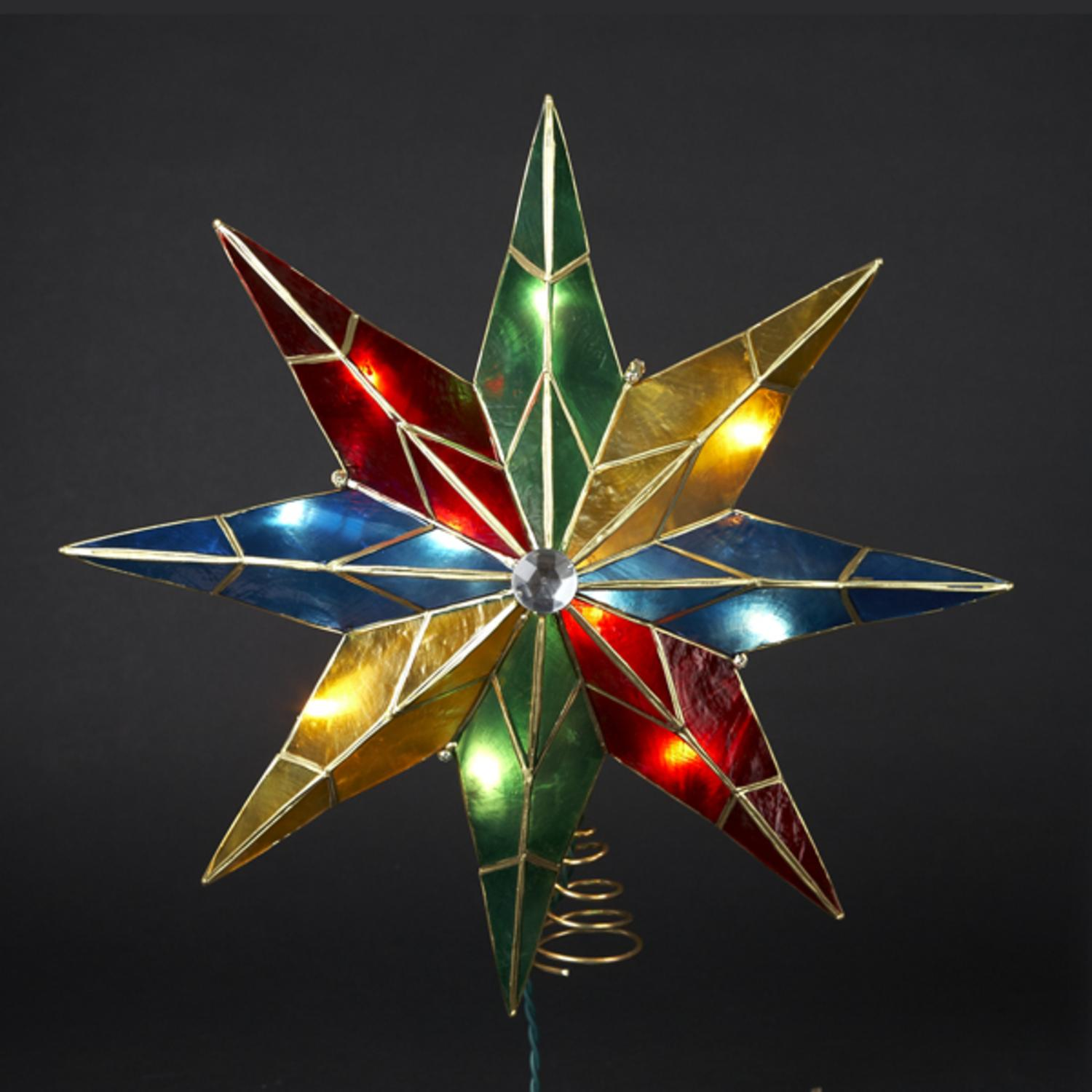 15 lighted capiz poinsettia star christmas tree topper clear lights walmartcom