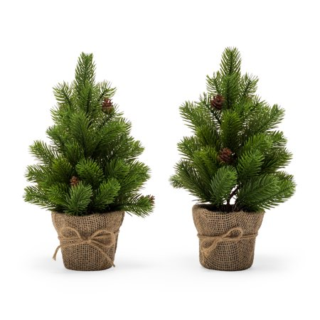 Belham Living 12 in. Artificial Christmas Tree wrapped in Burlap - Set of 2