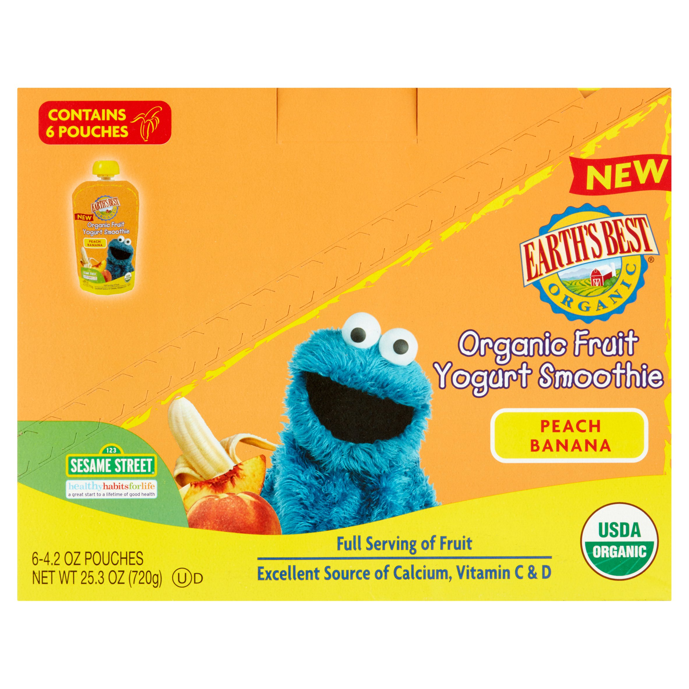 Earth's Best Organic Sesame Street Peach Banana Fruit Yogurt Smoothie, 4.2 oz, (Pack of 6)