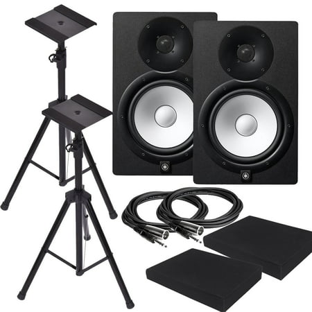 Yamaha HS8 8-Inch Powered Studio Monitor Speaker Black (Pair) with Pair of Height Adjustable Speaker Stands Tripod , High Density Studio Monitor