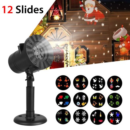 TSV Christmas Decoration Projector Lights, with 12 Slides Patterns, Waterproof Outdoor/Indoor Landscape Decoration Light for Party Holiday