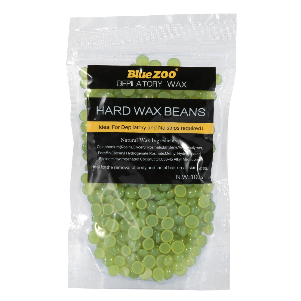 Hair Removal Hard Wax Beans Stripless Body Facial Arm Legs and Sensitive Areas Bikini Area Depilatory Wax Beads 100g(Green Tea)