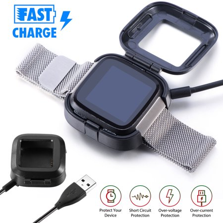 USB Fast Charging Dock for Smartwatch, TSV Power Cradle Station, 3.2Ft Charger Cable Replacement USB Adapter Cord Dock Compatible with Fitbit Versa 2 Health & Fitness Smartwatch WOWParts team offers 30 days return or replacement quality warranty & lifetime technical supports. Please contact us freely if you need anyfurhter assistance.  Product Features:  Compatibility: This replacement charger is specially designed for Fitbit Versa 2 Health &Fitness Smartwatch. Keep your Versa 2 always alive.  Connection Design: This charger adopted tight connection design, which can also help to keep the charger in place for safe charging. The external protective cover provides full protection for the watch when charging.  Charging Performance: The charger can be connected to USB power source on PC, laptop, notebook, which can also provide high efficiency and high stability charging experiences.  Charing Protection: Offer fast and stable charging speed, provide over- voltage and over-current protection, protect your Versa from being damaged when charging.  Durable: Durable ABS plastic material and TPE cable allow for long service time. Make your versa 2 watch more convenience when charging.  Note: The Versa 2 health &fitness smartwatch is not included.   Product Specification:  Type: Charger Dock Fit: Fitbit Versa 2 (Not for Fitbit Versa) Cable Length:  One meter Material:  ABS plastic and TPE Charging Output:  5V 1A  Package Includes:  1/2 pcs Charging Dock Stand for Fitbit Versa 2