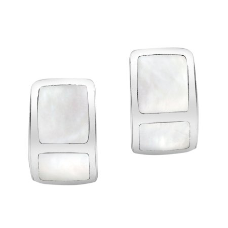 Mini Chic Sterling Silver Rectangle Frame White Shell Inlay Earrings ()