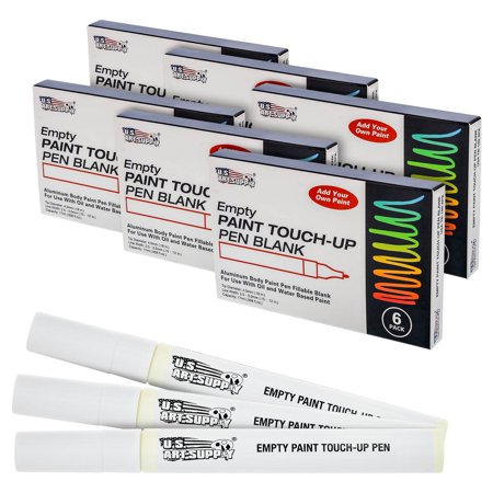 U S  Art Supply Empty Paint Touch-Up Marker Pen Blank - Aluminum Body  Fillable 4 5mm tip (Pack of 36)