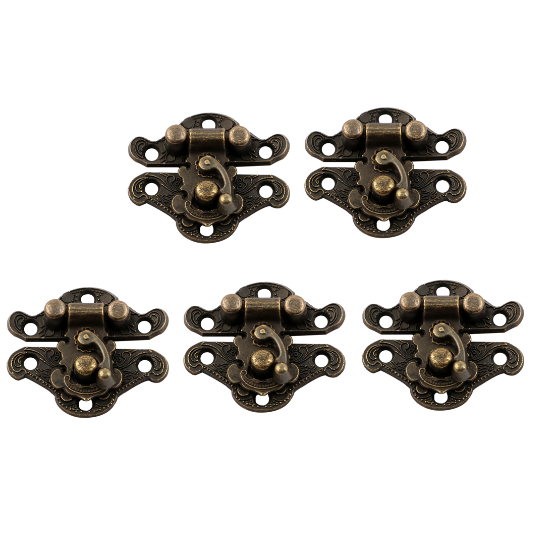 Vintage Style Box Latch Case Hasp Pad Chest Lock Hook Hinge Bronze Tone 5pcs