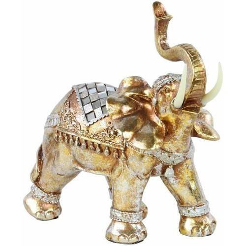 Urban Trends Collection: Polyresin Elephant Figurine, Brushed Finish, Gold