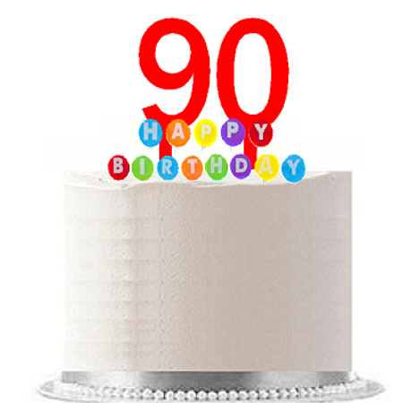 Item#090WCD - Happy 90th Birthday Party Red Cake Topper & Rainbow Candle Stand Elegant Cake Decoration Topper Kit](Happy Birthday 90th)