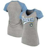 Women's New Era Gray Milwaukee Brewers Space Dye V-Neck T-Shirt