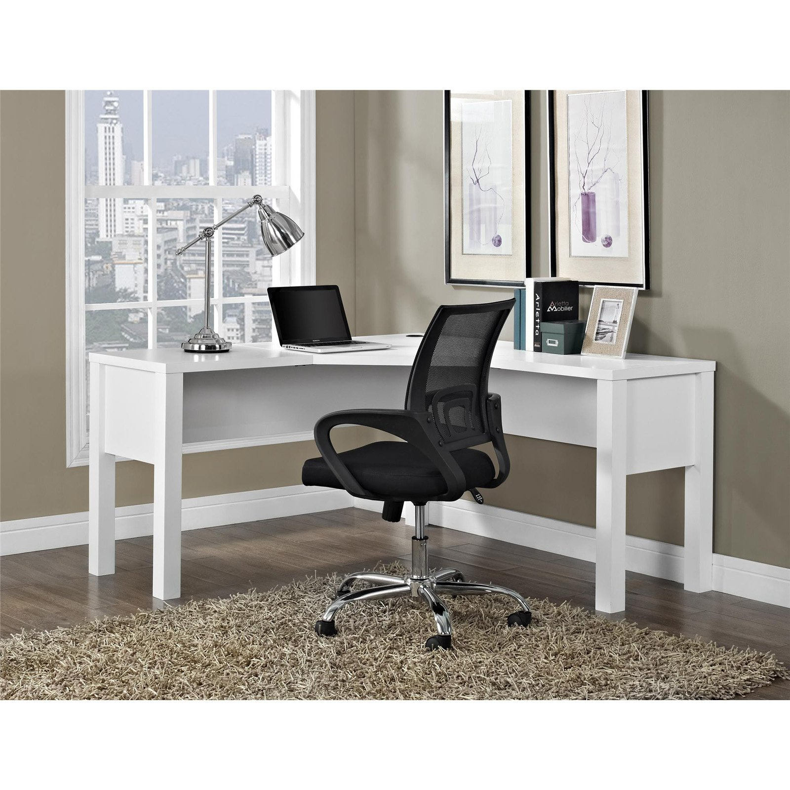 Ameriwood Home Princeton L-Shaped Desk, White